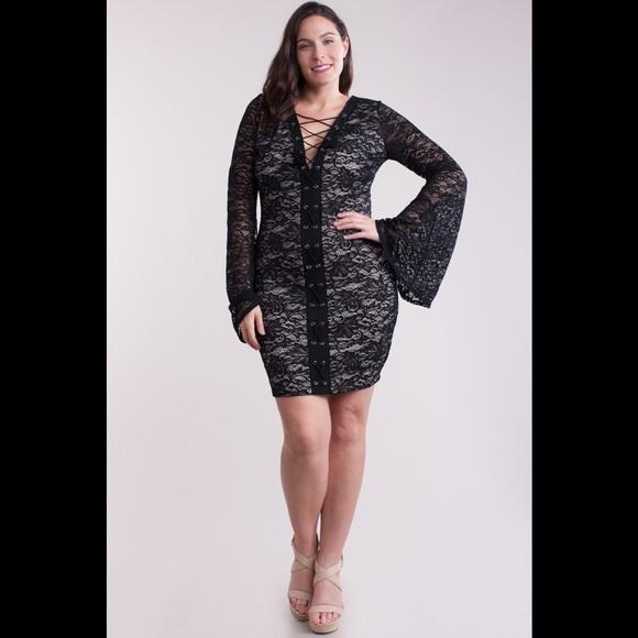 Dresses | Crisscross String Bodycon Dress Plus Size | Poshmark